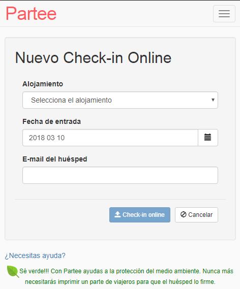 Vista de creación de Check-in Online